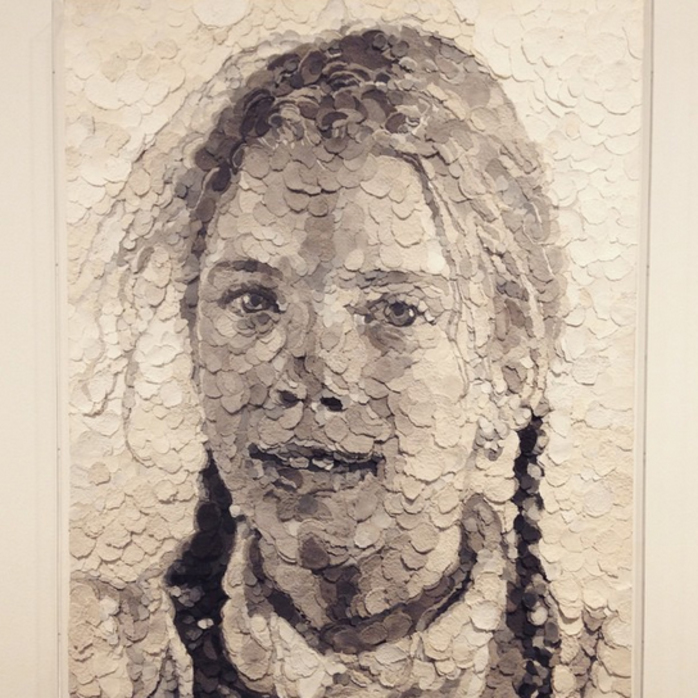 georgia, chuck close, closetochuck, mca, museum of contemporary art, georgia close, daughter, impressionist art, collage, paper pulp
